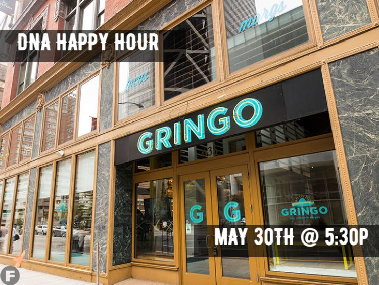 Picture of Gringo in Downtown St. Louis with wording for next DNA Happy Hour and date on top of it.